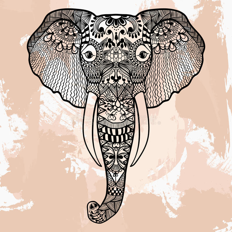 Zentangle head of Elephant, tattoo design in doodle style. Ornamental tribal patterned illustration for adult anti stress royalty free illustration