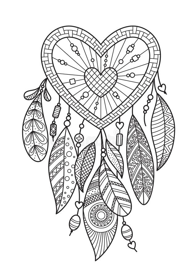 Zentangle Heart Dream Catcher With Feathers. Doodle Antistress Coloring Book  Page For Adult. Valentine Day Illustration Isolated Stock Illustration -  Illustration Of Dream, Drawing: 168750099