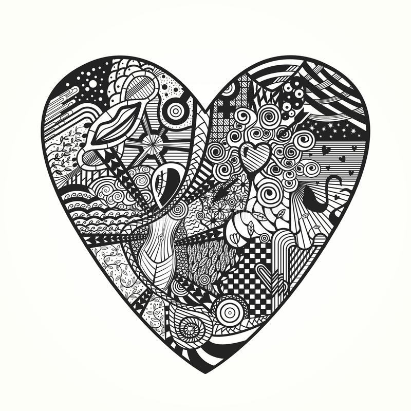 Zentangle heart royalty free illustration