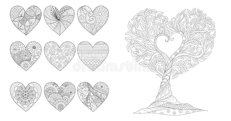Zentangle hjärtor och träd för valentinkort- eller weddininbjudningar och färgasidan för anti-spänning också vektor för coreldraw stock illustrationer