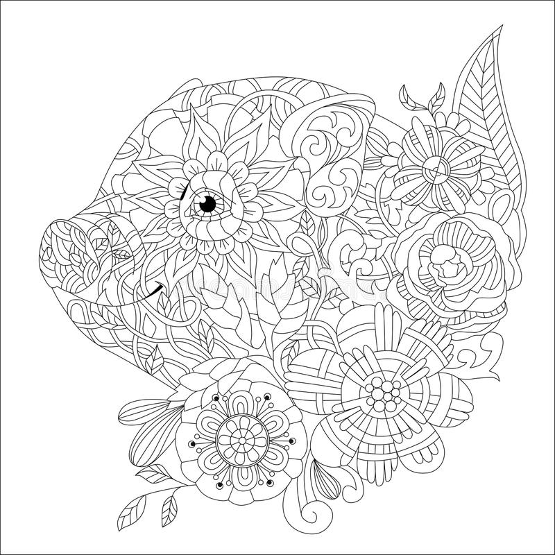Piggy With Flowers Coloring Book For Adults Vector Stock Vector ...