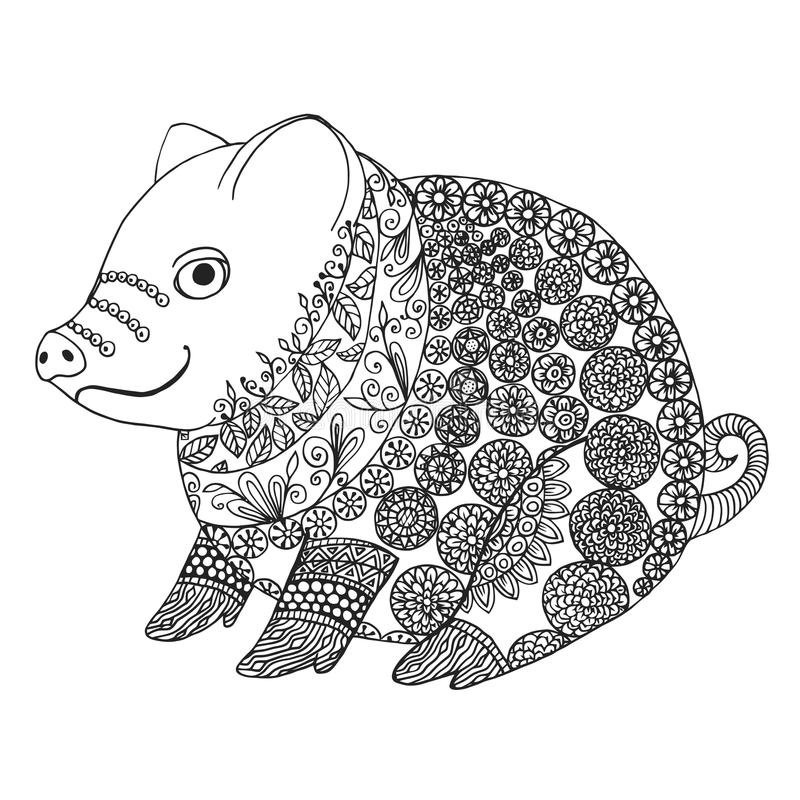 Zentangle Illustration With Pig Zen Tangle Or Doodle Piglet