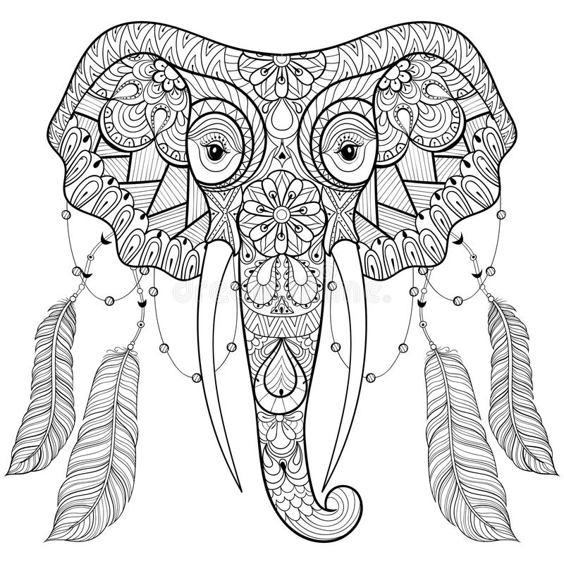 Zentangle indian Elephant with bird feathers in boho chic style. stock illustration