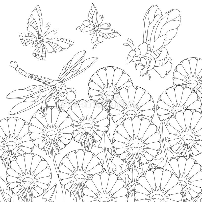 Zentangle insects and dandelion flowers coloring page stock photography