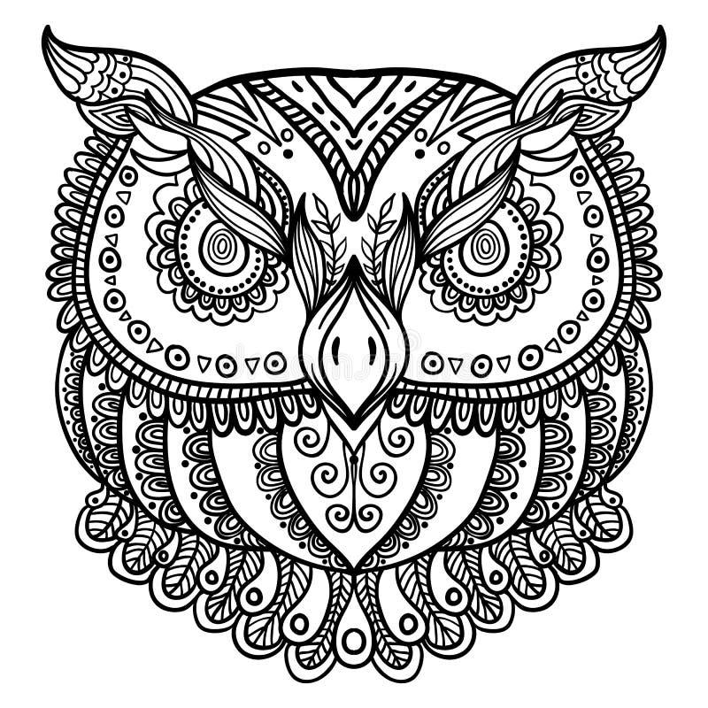 Zentangle inspirerade den abstrakta ugglan Tecknad illustration för vektor hand royaltyfri illustrationer