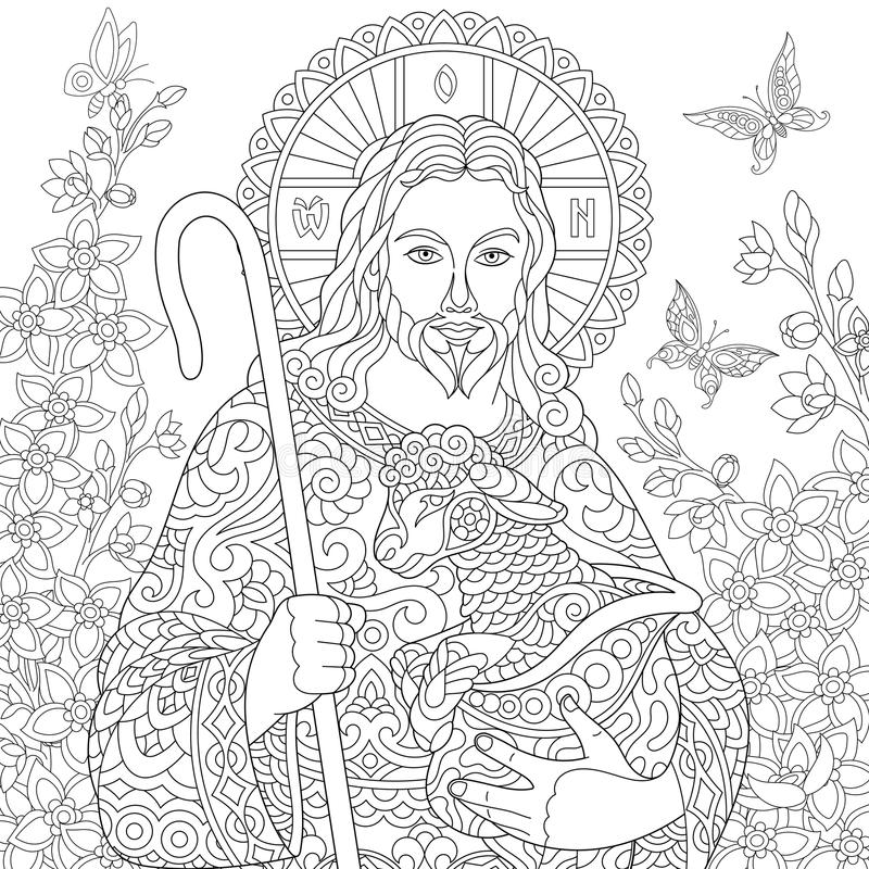 Zentangle Jesus Christ vektor illustrationer