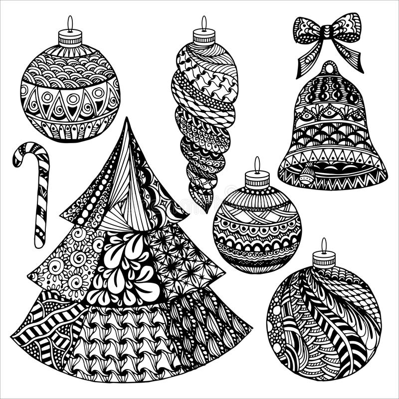 Zentangle julsamling stock illustrationer