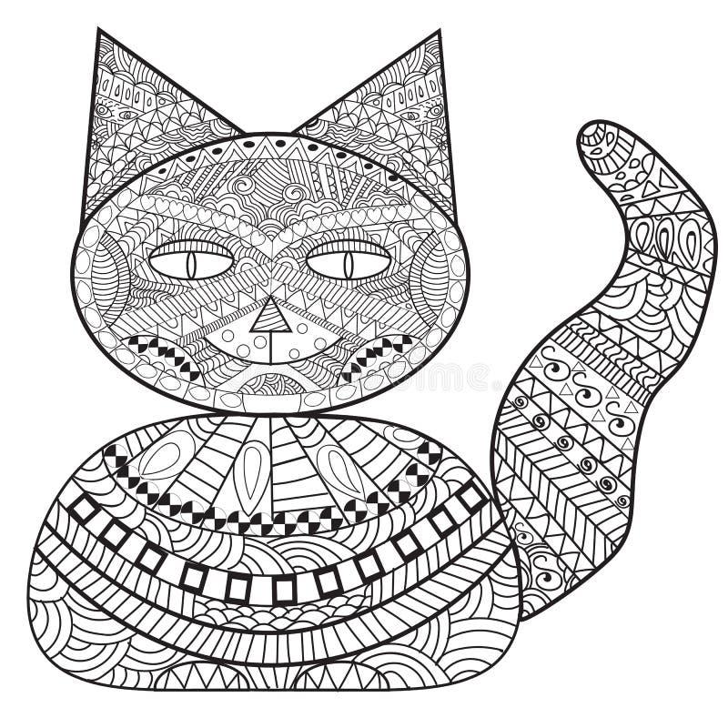 Zentangle-Katzenbank, Dekorationskatze, erwachsenes Malbuch, färbend stock abbildung