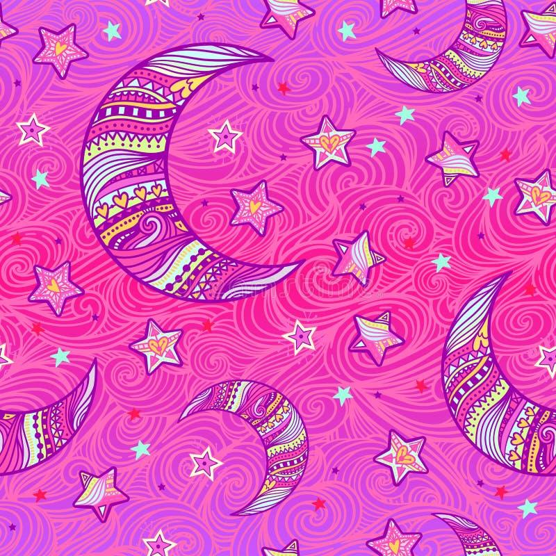 Zentangle księżyc i gwiazda wzór ilustracji