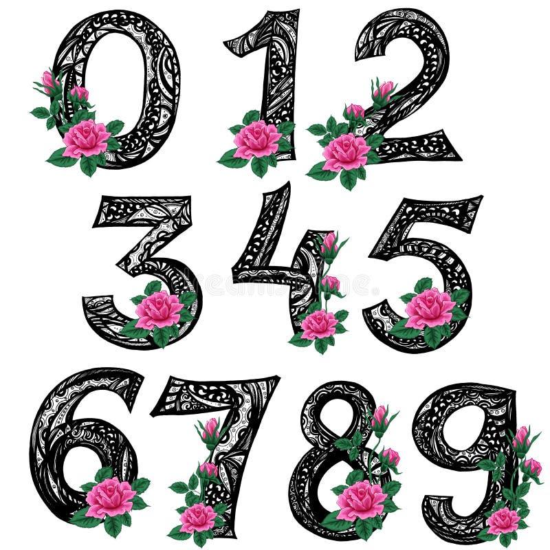 Zentangle Linie Kunst Gestreifte Zahlen von null bis neun mit Rosarose blüht Eigenhändig zeichnen lizenzfreie abbildung
