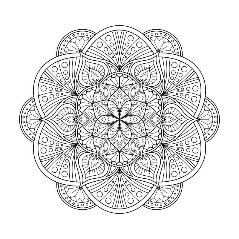 Zentangle mandala för antistress sida för färga bok stock illustrationer