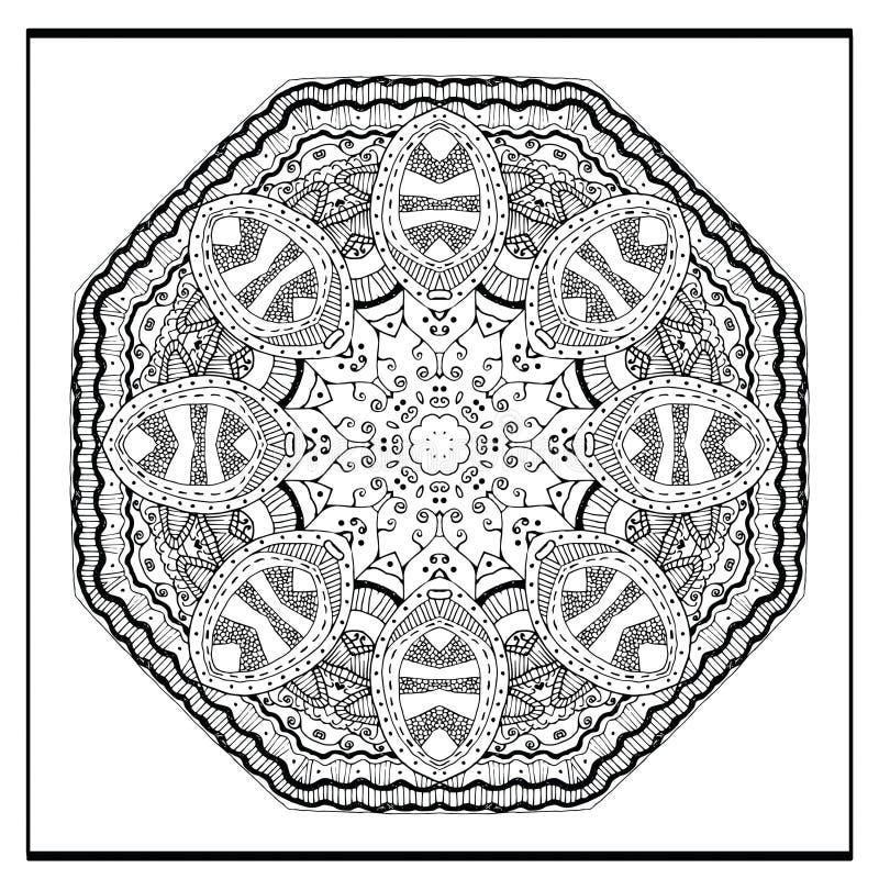 Zentangle mandala - sidan för färgläggningboken för vuxna människor, kopplar av och meditationen, vektorn, klotter royaltyfri illustrationer