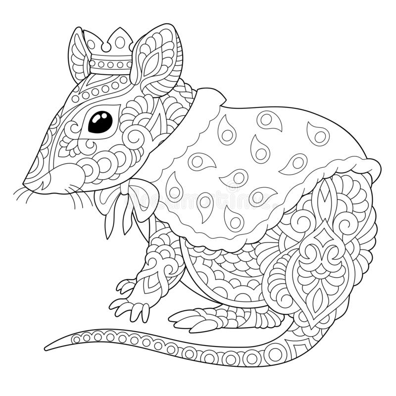 Zentangle mouse rat coloring page royalty free stock photo