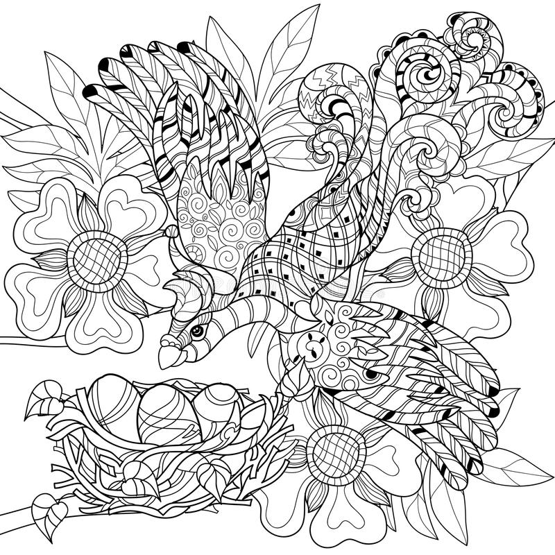 Zentangle nakreślenia ptak na gniazdowa ręka Rysującym doodle ilustracji