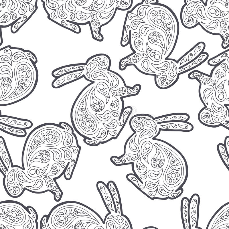 Zentangle och zendoodlehare Zentova och zenklotterdjur Djurliv för färgläggningbok Kaninvektortextil vektor illustrationer