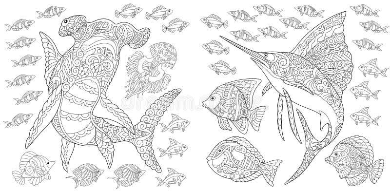 Zentangle onderwaterdieren royalty-vrije illustratie