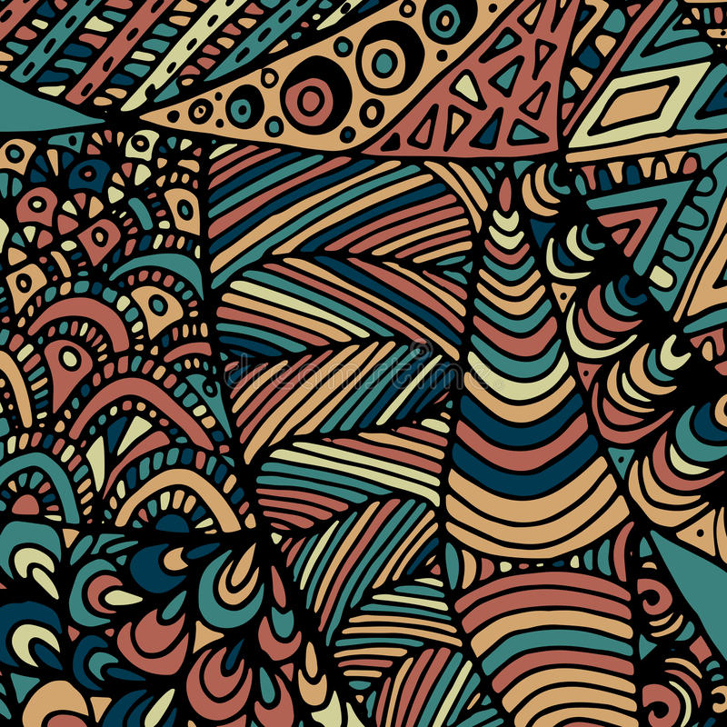 Zentangle ornament. Colorful texture for backgrounds. Made by trace from personal hand drawn sketch stock illustration