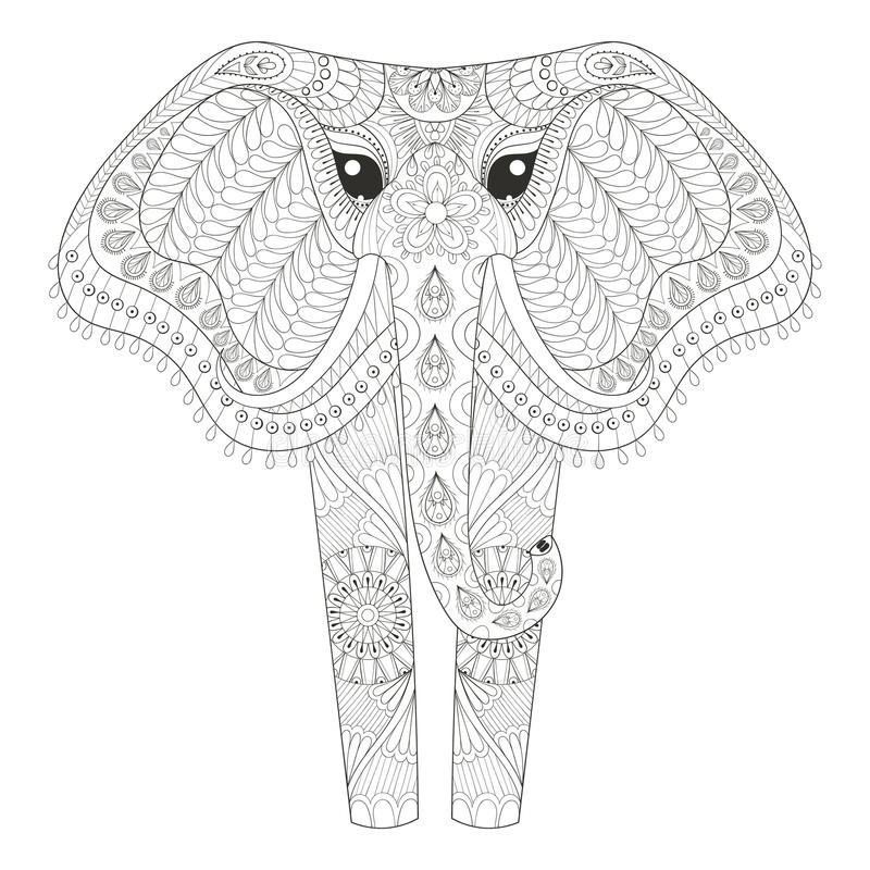 Free Zentangle Ornamental Elephant For Adult Coloring Pages, Hand Drawn Animal Post Card, Mehendi T-shirt Print, Logo Icon. Isolated Royalty Free Stock Images - 71674949