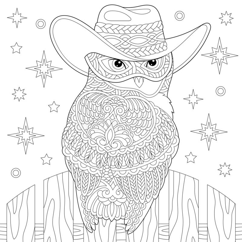 Zentangle owl coloring page royalty free stock photo