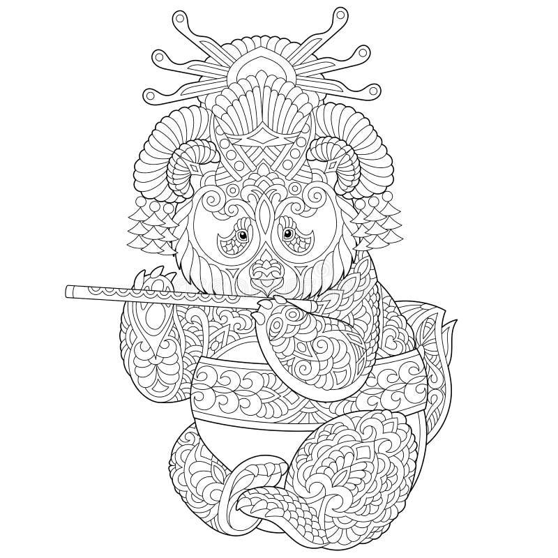 Zentangle panda bear coloring page stock photo