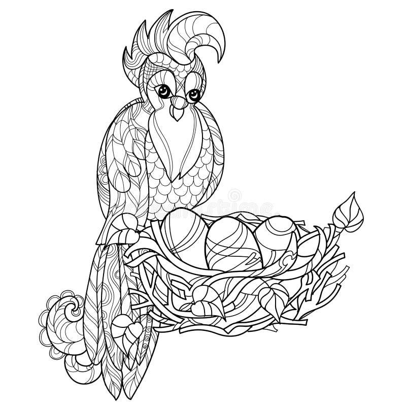 Zentangle papegoja på dragen vektor för rede hand stock illustrationer