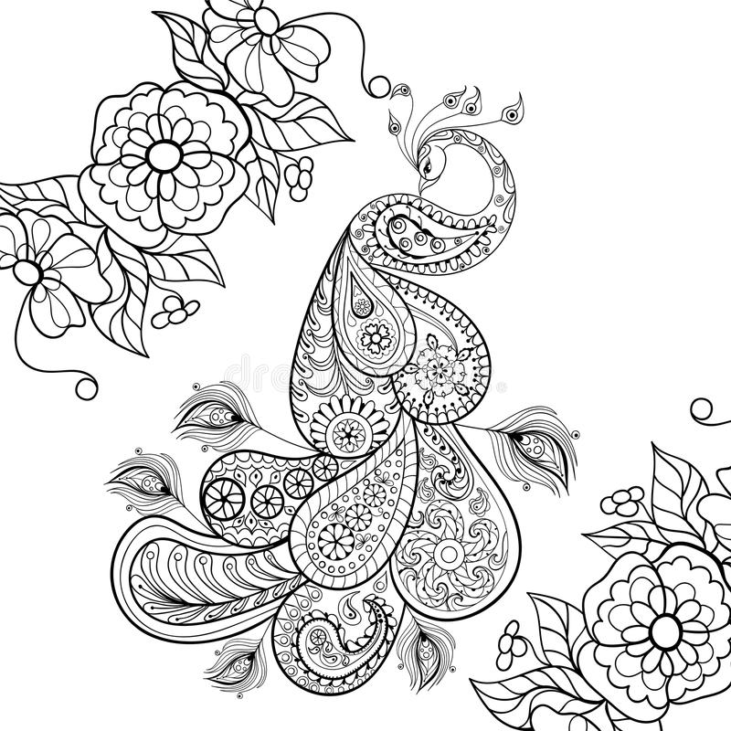 Scribble Drawing In Art Therapy : Zentangle peacock totem in flowersfor adult anti stress