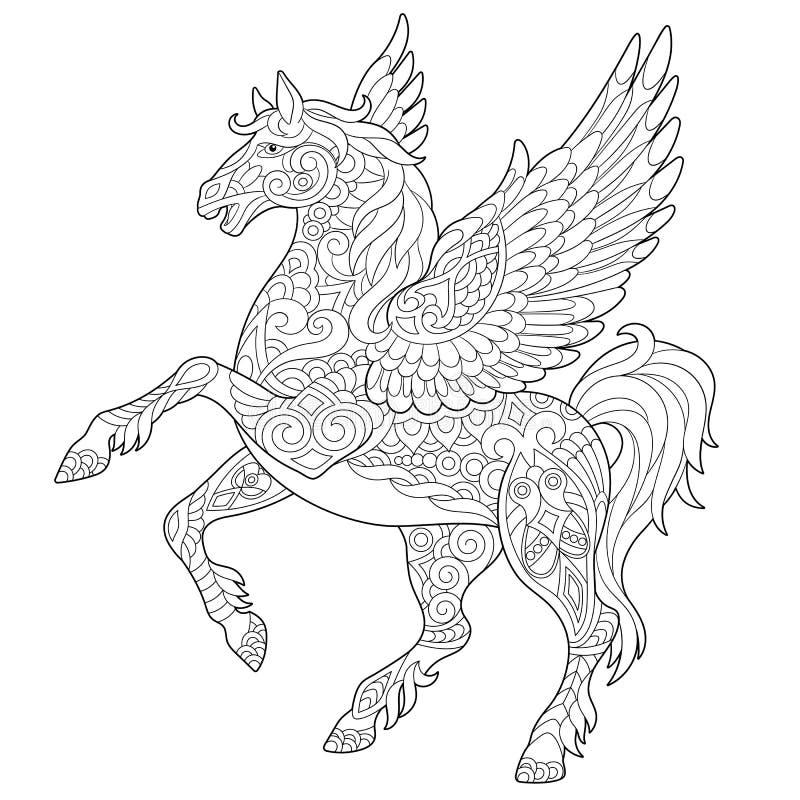 Zentangle pegasus häst stock illustrationer