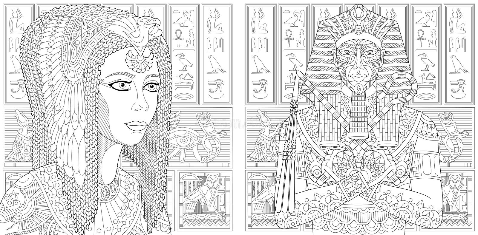 Zentangle pharaoh and Cleopatra queen royalty free illustration