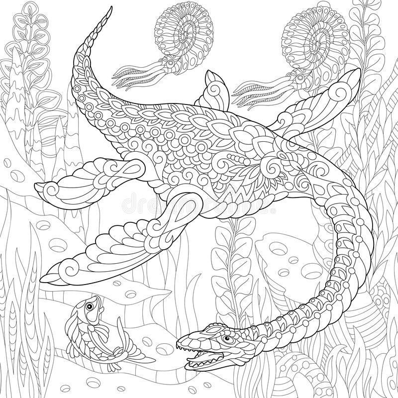 Zentangle plezjozaura dinosaur royalty ilustracja
