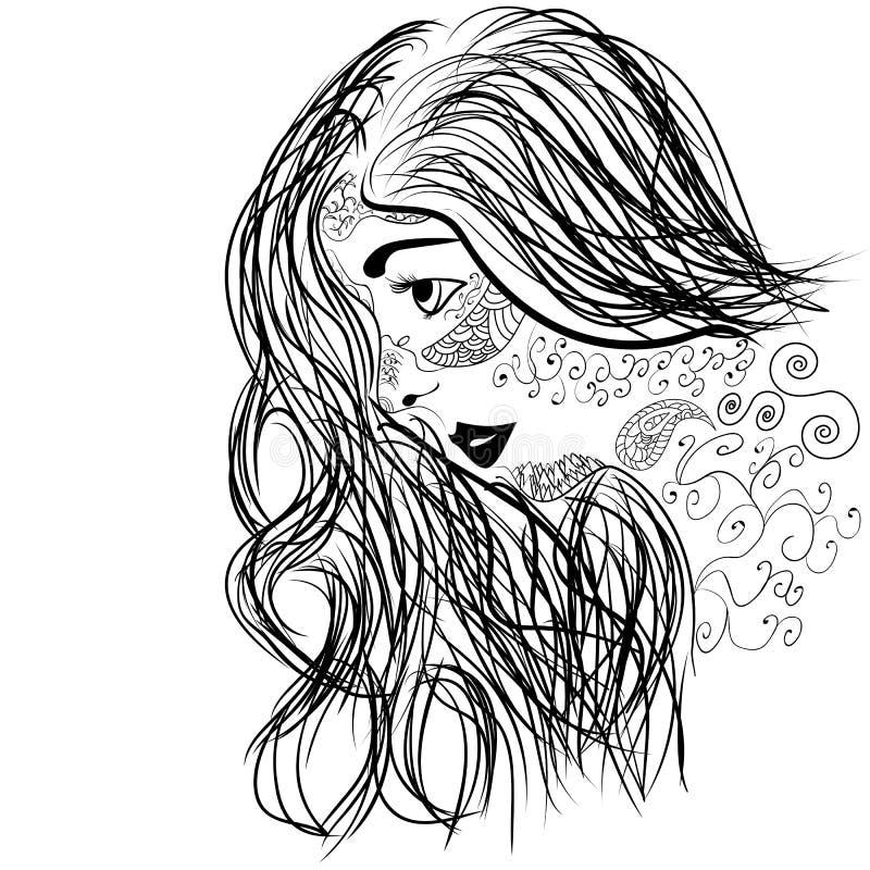 Zentangle-Porträt des Mädchengesichtes im Profil lizenzfreie abbildung