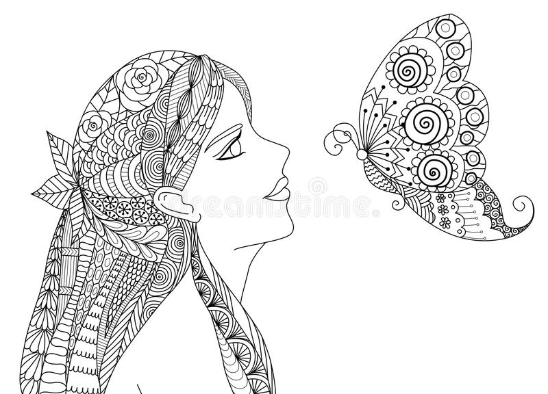 Zentangle pretty girl looking at flying butterfly design for coloring book for adult vector illustration