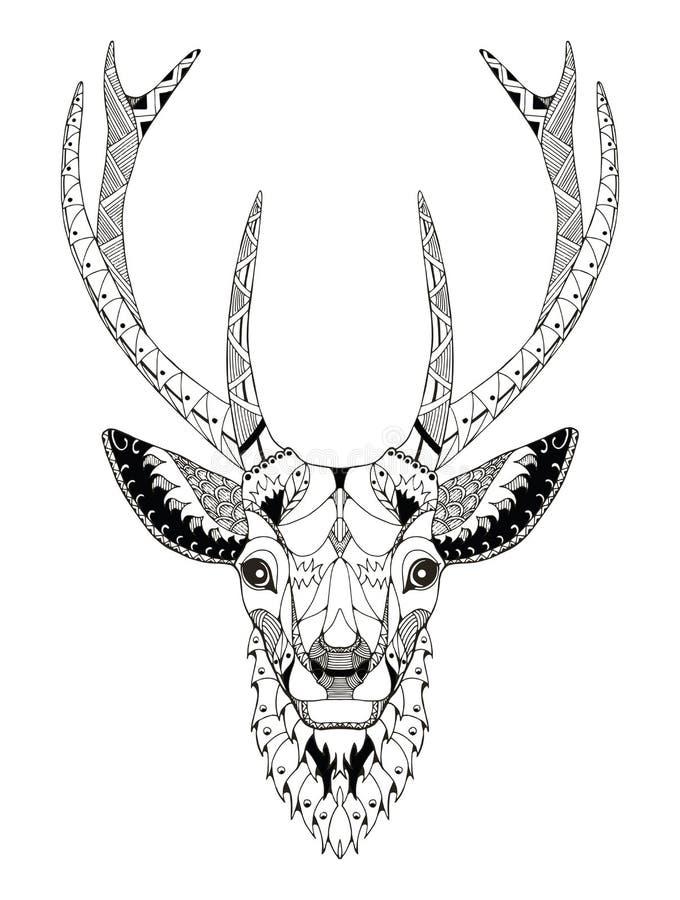 Zentangle principal de cerfs communs stylisé illustration libre de droits