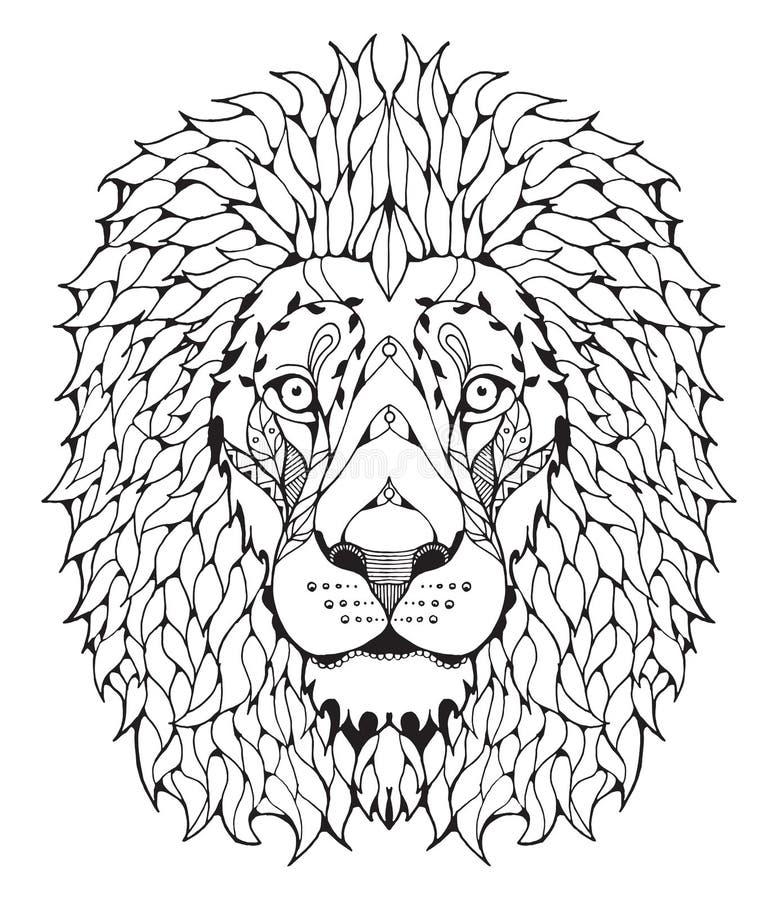 Zentangle principal do leão estilizado ilustração stock