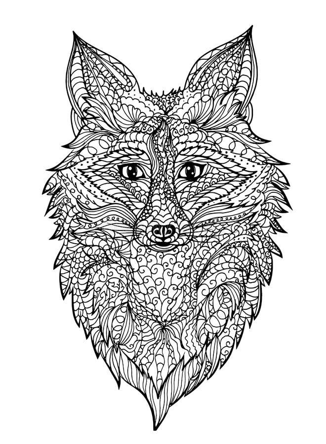 Zentangle rävhuvud royaltyfri bild