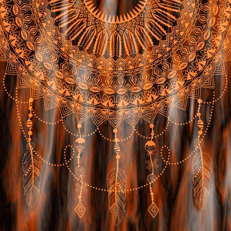Zentangle rund blom- prydnad Snör åt den dekorativa rundan för vektorn med arabesquebeståndsdelar Mehndi stil stock illustrationer