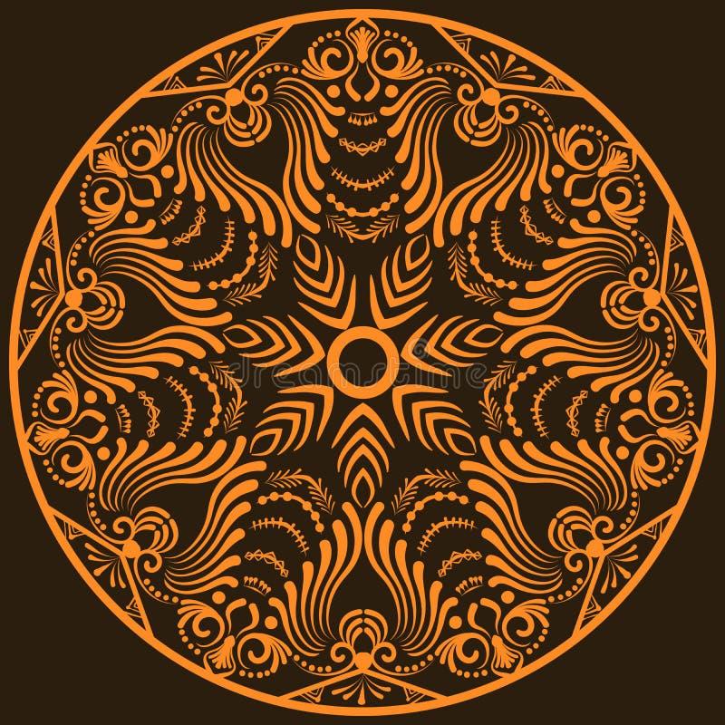 Zentangle rund blom- prydnad Snör åt den dekorativa rundan för vektorn med arabesquebeståndsdelar Mehndi stil royaltyfri illustrationer