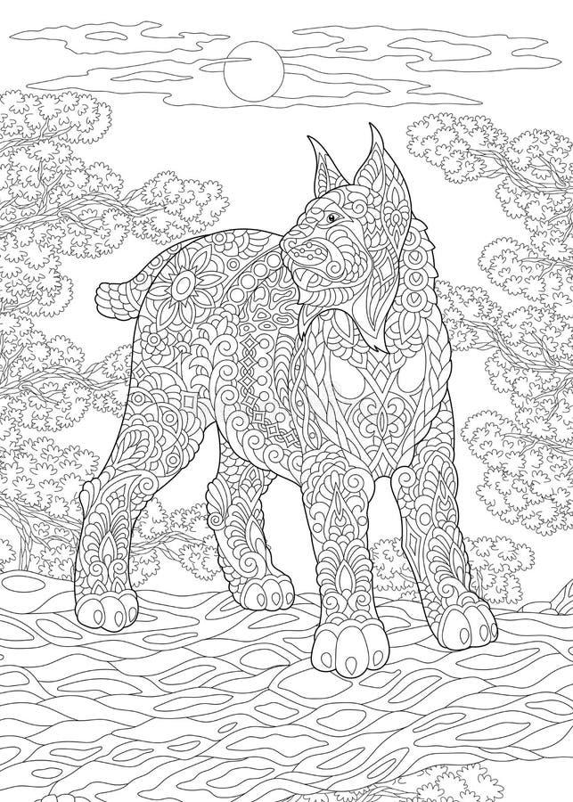 Zentangle rysia dziki ryś rudy royalty ilustracja