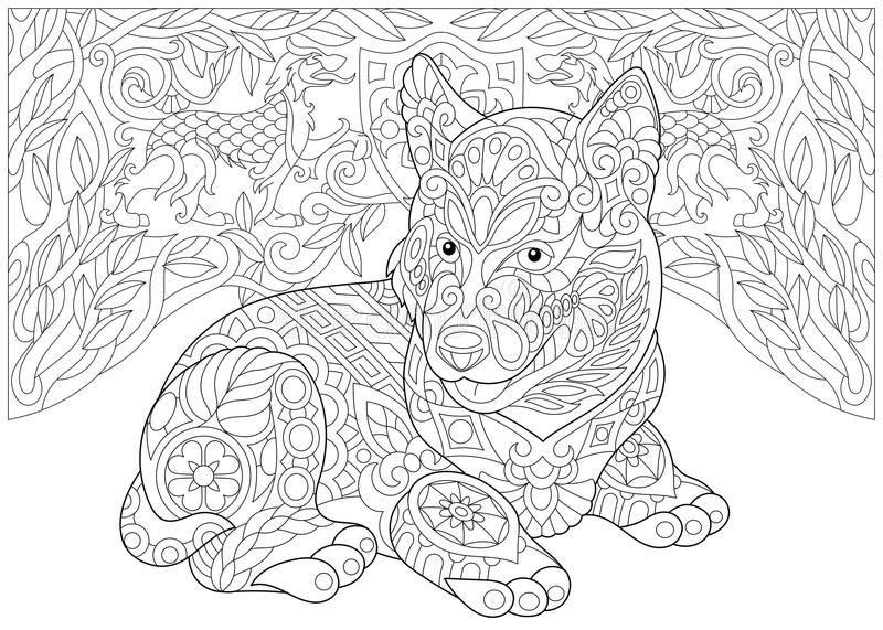 - Zentangle Siberian Husky And Heraldic Dogs Stock Vector - Illustration Of  Breed, Arms: 107437161