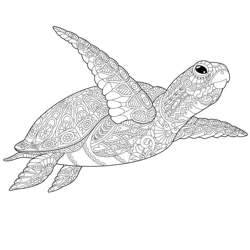 Zentangle sköldpadda royaltyfri illustrationer