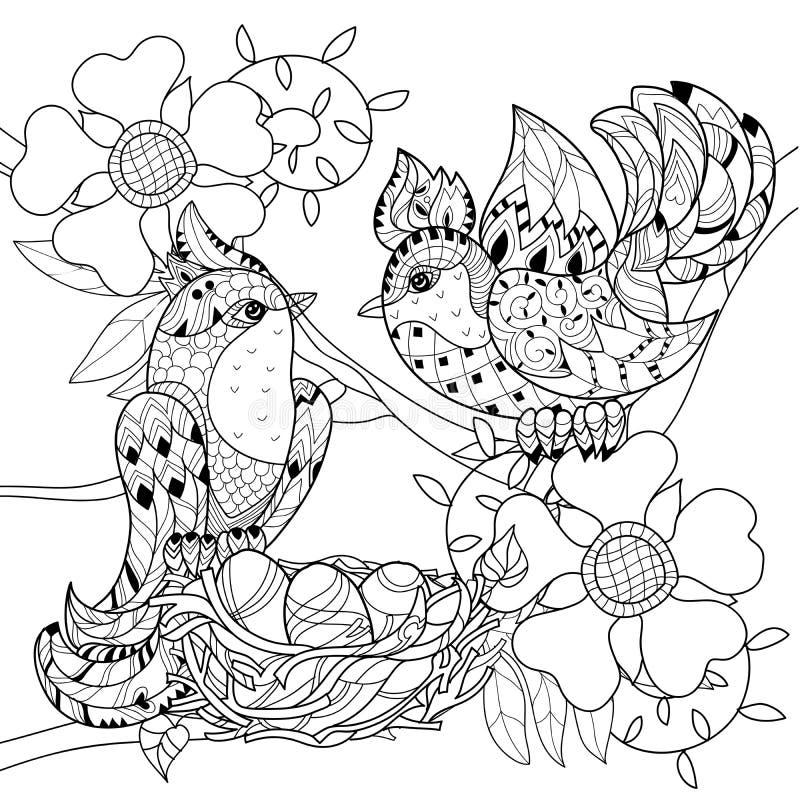 Zentangle skissar fågeln på dragit klotter för rede handen vektor illustrationer