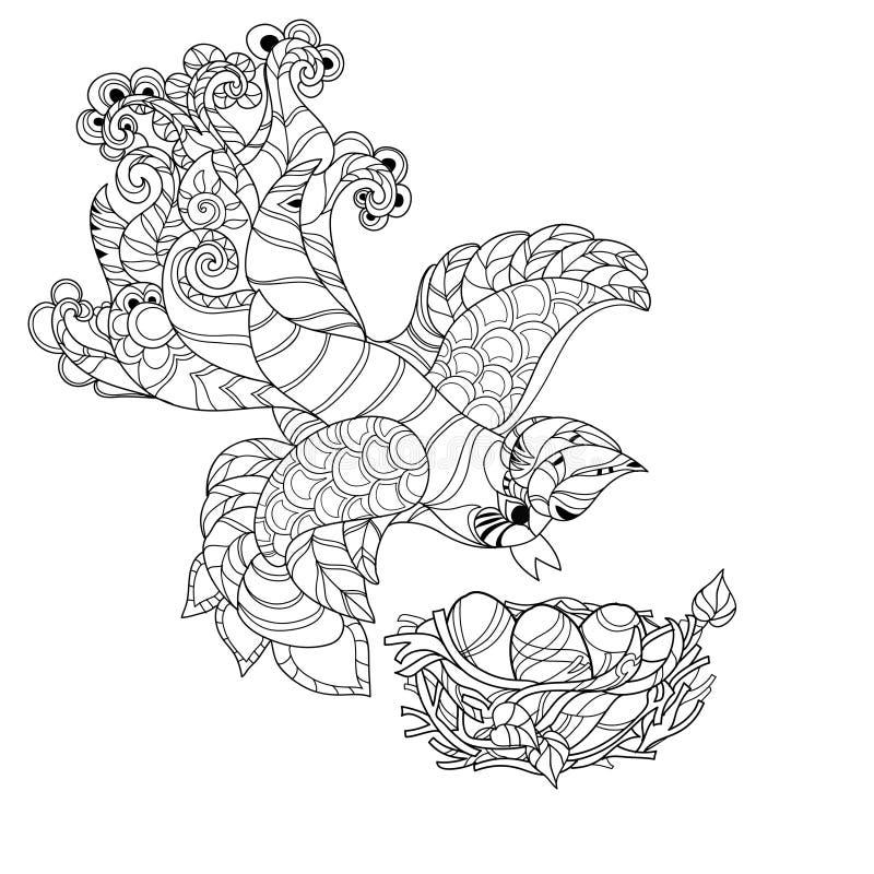 Zentangle skissar fågeln på dragit klotter för rede handen stock illustrationer
