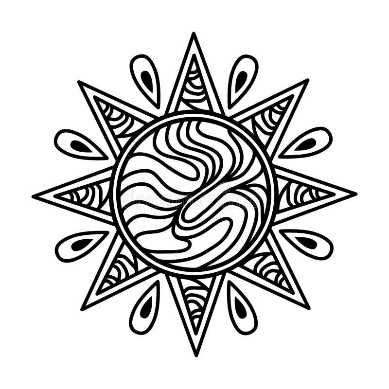 Zentangle solsymbol vektor illustrationer