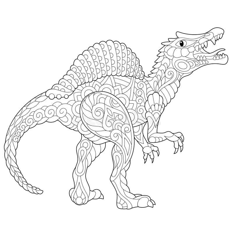 Zentangle spinosaurus dinosaur royalty free illustration