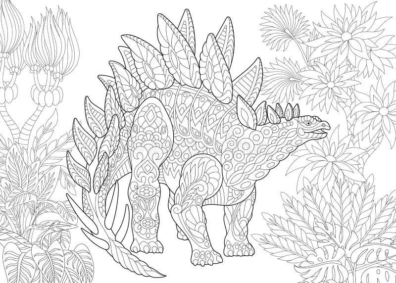 Zentangle stegosaurusdinosaurie royaltyfri illustrationer