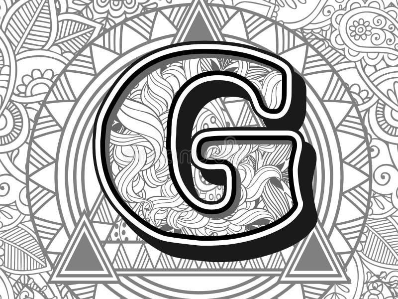 zentangle stileerde alfabetbrief g de zwart-witte hand getrokken brief van het krabbelbeeld royalty-vrije illustratie
