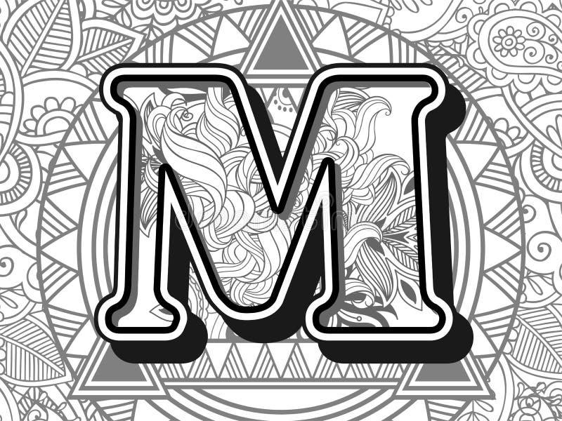 zentangle stileerde alfabetbrief m de zwart-witte hand getrokken brief van het krabbelbeeld stock illustratie