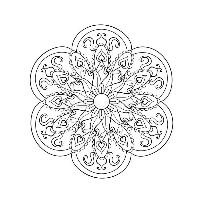 Zentangle stileerde Arabische, Indische Mandala Hand getrokken wijnoogst stock illustratie