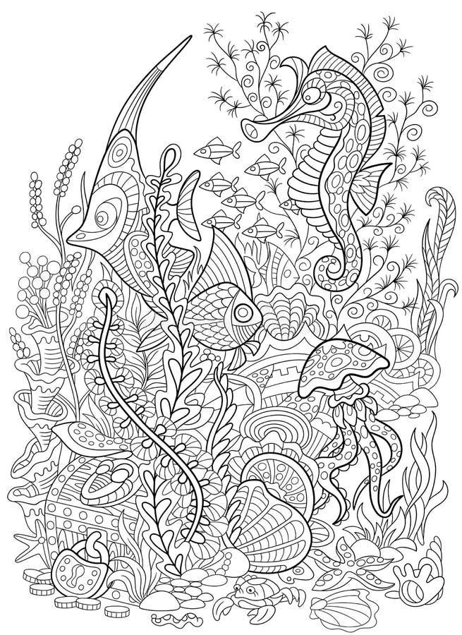 Zentangle stileerde dierlijke vastgestelde overzeese inzameling Het oceaanleven royalty-vrije illustratie