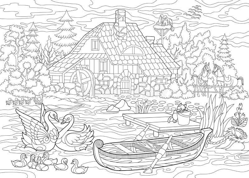 Zentangle stileerde landelijk landschap stock illustratie