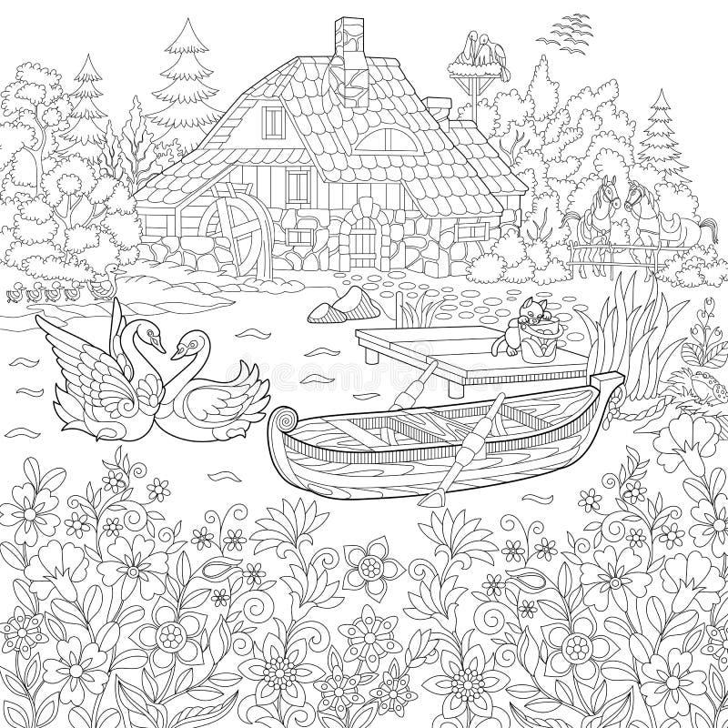Zentangle stileerde landelijk landschap royalty-vrije illustratie